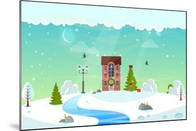Winter Nature Landscape with River. Cute House with Christmas Fir-Tree, Lantern (Street Light) and- icanFly-Mounted Art Print