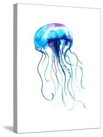 Jellyfish Watercolor Illustration. Medusa Painting Isolated on White Background, Colorful Tattoo De-Anna Kutukova-Stretched Canvas Print