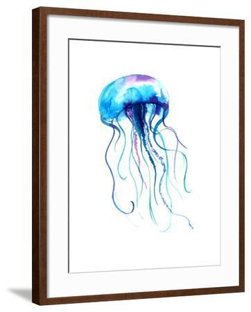 Jellyfish Watercolor Illustration. Medusa Painting Isolated on White Background, Colorful Tattoo De-Anna Kutukova-Framed Art Print