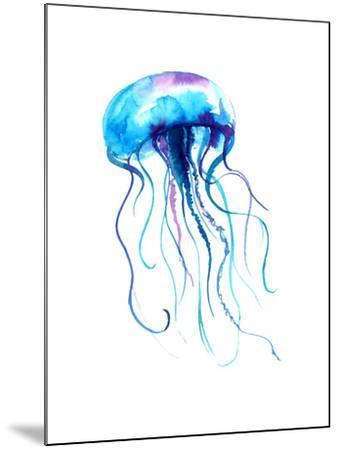 Jellyfish Watercolor Illustration. Medusa Painting Isolated on White Background, Colorful Tattoo De-Anna Kutukova-Mounted Art Print