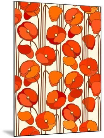 Poppies. Seamless Background.- isveta-Mounted Art Print