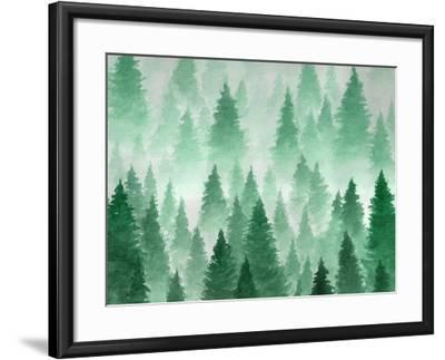 Artwork. Background Painted with Watercolor. Hand Drawn Landscape of Foggy Forest, Winter Hill. Wil-Julie July-Framed Art Print