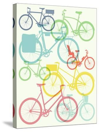 Vector Flat Modern Urban, Town and City Bicycles Background Featuring Touring Bicycle, Fixed Gear,-Mascha Tace-Stretched Canvas Print