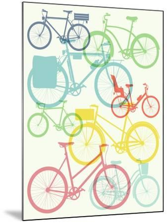Vector Flat Modern Urban, Town and City Bicycles Background Featuring Touring Bicycle, Fixed Gear,-Mascha Tace-Mounted Art Print