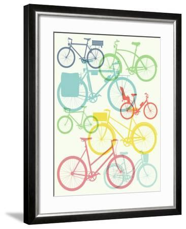 Vector Flat Modern Urban, Town and City Bicycles Background Featuring Touring Bicycle, Fixed Gear,-Mascha Tace-Framed Art Print