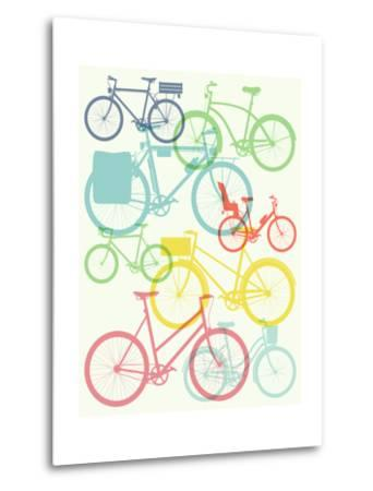 Vector Flat Modern Urban, Town and City Bicycles Background Featuring Touring Bicycle, Fixed Gear,-Mascha Tace-Metal Print