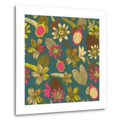 Tropical Flowers with Dragon Fruit Pattern-zolssa-Metal Print