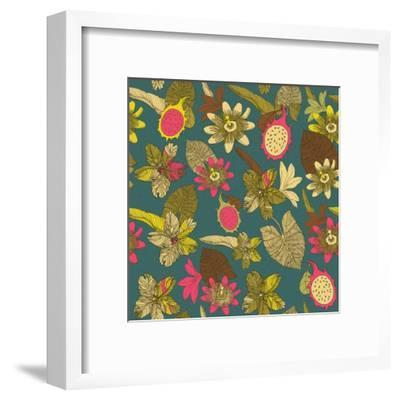 Tropical Flowers with Dragon Fruit Pattern-zolssa-Framed Art Print