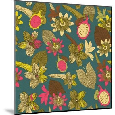 Tropical Flowers with Dragon Fruit Pattern-zolssa-Mounted Art Print