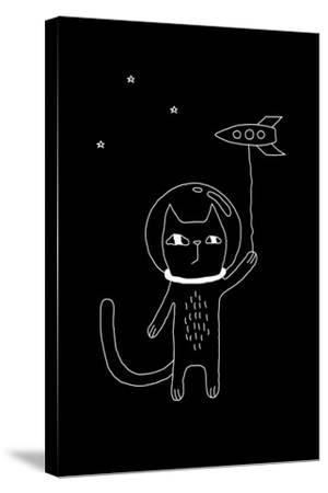 Outline Cartoon Cat Illustration with Space Cat and a Rocket. Cute Vector Black and White Cat Illus-Ekaterina Zimodro-Stretched Canvas Print