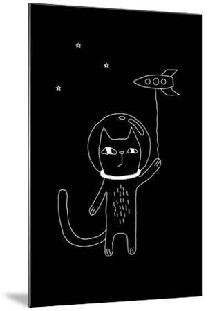 Outline Cartoon Cat Illustration with Space Cat and a Rocket. Cute Vector Black and White Cat Illus-Ekaterina Zimodro-Mounted Art Print