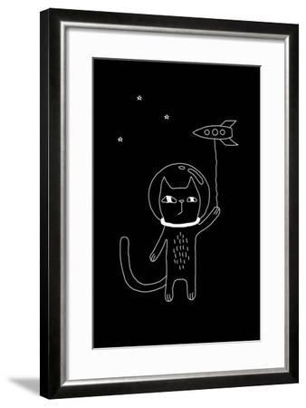 Outline Cartoon Cat Illustration with Space Cat and a Rocket. Cute Vector Black and White Cat Illus-Ekaterina Zimodro-Framed Art Print