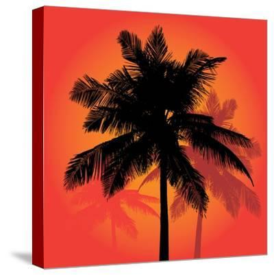 A Trio of Tropical Coconut Palm Tree Silhouettes Illustration in Vector Format.-ARENA Creative-Stretched Canvas Print