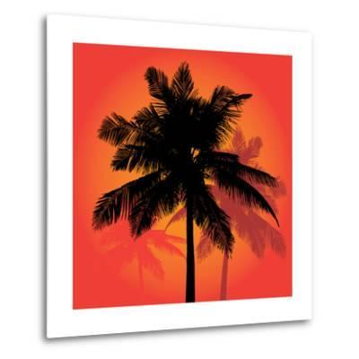 A Trio of Tropical Coconut Palm Tree Silhouettes Illustration in Vector Format.-ARENA Creative-Metal Print