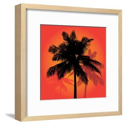 A Trio of Tropical Coconut Palm Tree Silhouettes Illustration in Vector Format.-ARENA Creative-Framed Art Print