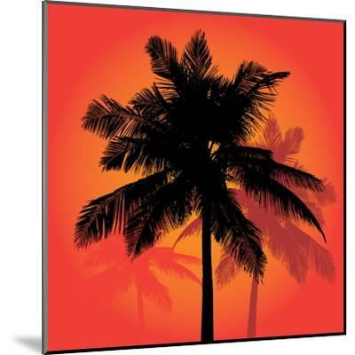 A Trio of Tropical Coconut Palm Tree Silhouettes Illustration in Vector Format.-ARENA Creative-Mounted Art Print