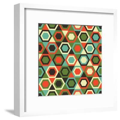 Seamless Retro Geometric Pattern-Tracie Andrews-Framed Art Print