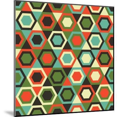 Seamless Retro Geometric Pattern-Tracie Andrews-Mounted Art Print