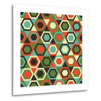 Seamless Retro Geometric Pattern-Tracie Andrews-Metal Print