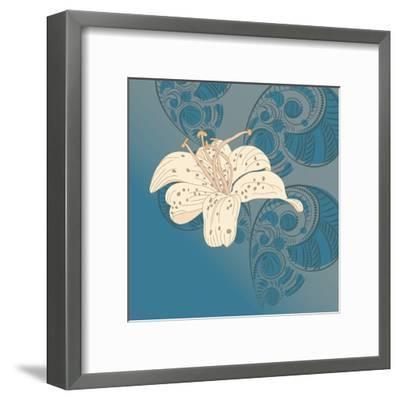Lily on Floral Background.- alex makarova-Framed Art Print