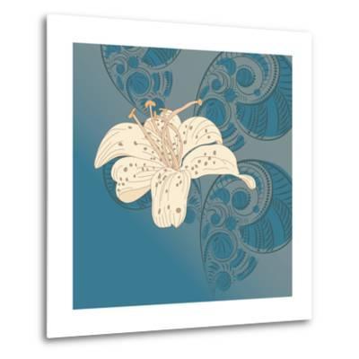 Lily on Floral Background.- alex makarova-Metal Print