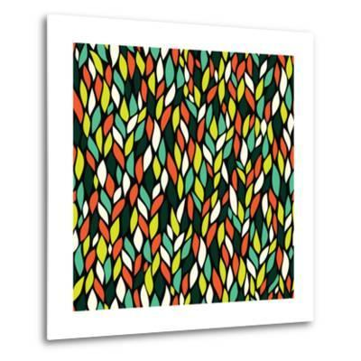 Vector Seamless Abstract Hand-Drawn Pattern with Leaf-Markovka-Metal Print