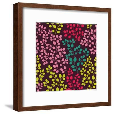 Abstract Seamless Pattern with Colored Branches-Markovka-Framed Art Print
