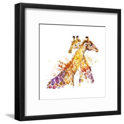 Giraffe Watercolor Illustration with Splash Textured Background.-Faenkova Elena-Framed Art Print