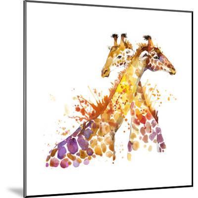 Giraffe Watercolor Illustration with Splash Textured Background.-Faenkova Elena-Mounted Art Print