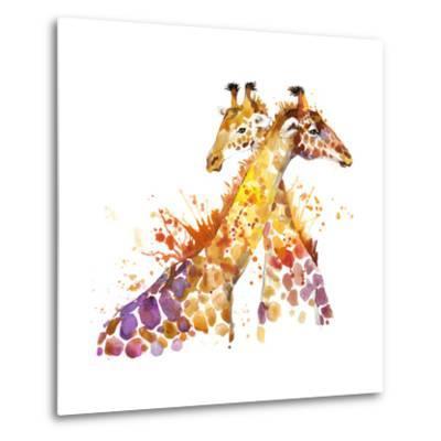 Giraffe Watercolor Illustration with Splash Textured Background.-Faenkova Elena-Metal Print
