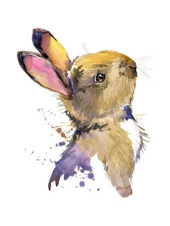 Cute Rabbit. Hare. Watercolor Illustration. Forest Animal.-Faenkova Elena-Framed Art Print