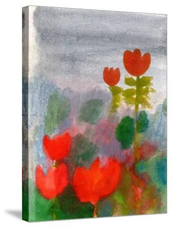 Green Life. Nature. Flowers. Red Tulips. Hand Drawn Landscape. Dark Sky. Rainy Day. Art. Summer Gar-Diana Lapshina-Stretched Canvas Print