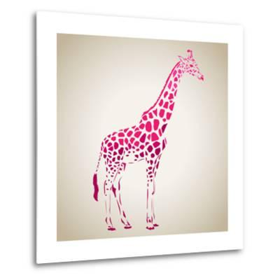 Vector Giraffe Silhouette, Abstract Animal Illustration. Can Be Used for Background, Card, Print Ma- oxanaart-Metal Print