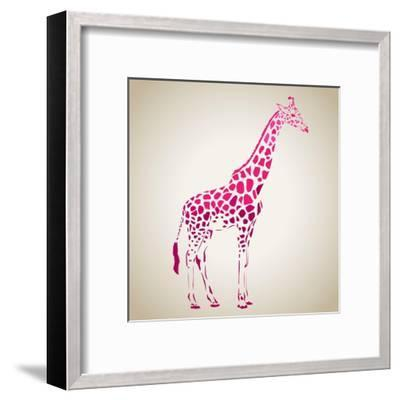 Vector Giraffe Silhouette, Abstract Animal Illustration. Can Be Used for Background, Card, Print Ma- oxanaart-Framed Art Print