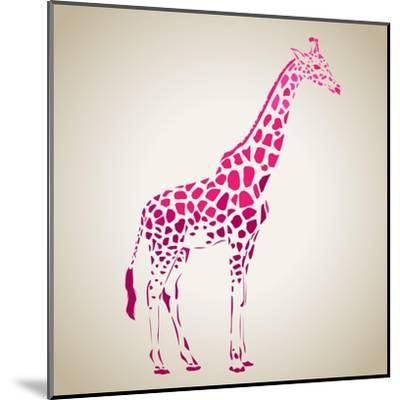 Vector Giraffe Silhouette, Abstract Animal Illustration. Can Be Used for Background, Card, Print Ma- oxanaart-Mounted Art Print
