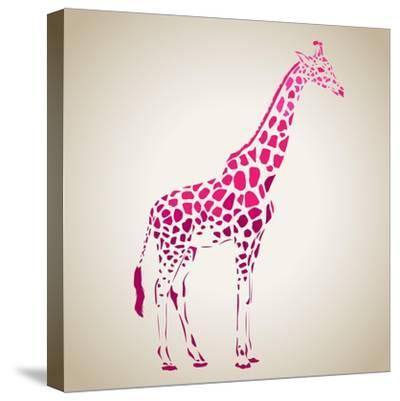 Vector Giraffe Silhouette, Abstract Animal Illustration. Can Be Used for Background, Card, Print Ma- oxanaart-Stretched Canvas Print