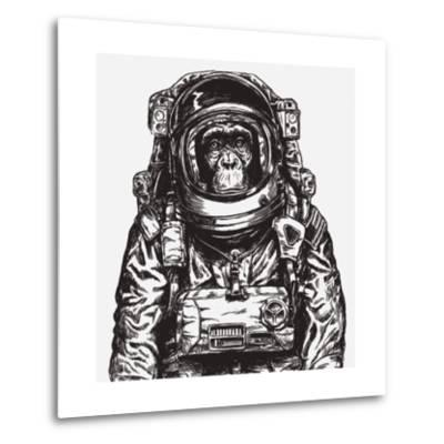 Hand Drawn Monkey Astronaut Vector-Tairy Greene-Metal Print