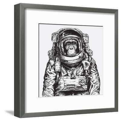 Hand Drawn Monkey Astronaut Vector-Tairy Greene-Framed Art Print