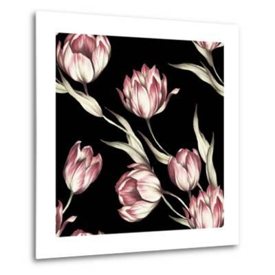 Seamless Pattern with Tulips. Watercolor Illustration.- Adelveys-Metal Print