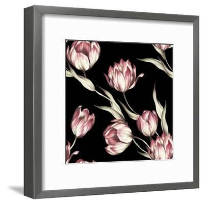 Seamless Pattern with Tulips. Watercolor Illustration.- Adelveys-Framed Art Print