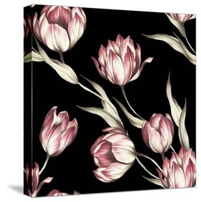 Seamless Pattern with Tulips. Watercolor Illustration.- Adelveys-Stretched Canvas Print