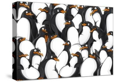 Penguins Pattern- YuanDen-Stretched Canvas Print