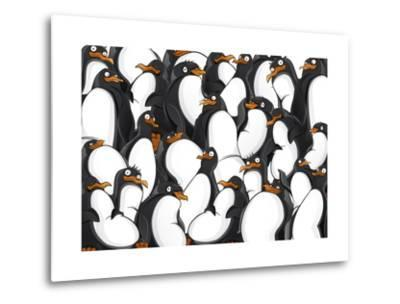 Penguins Pattern- YuanDen-Metal Print