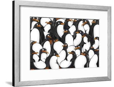 Penguins Pattern- YuanDen-Framed Art Print