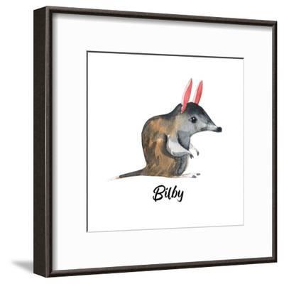 Australian Animals Watercolor Illustration Hand Drawn Wildlife Isolated on a White Background. Bilb-Kat_Branch-Framed Art Print
