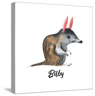 Australian Animals Watercolor Illustration Hand Drawn Wildlife Isolated on a White Background. Bilb-Kat_Branch-Stretched Canvas Print
