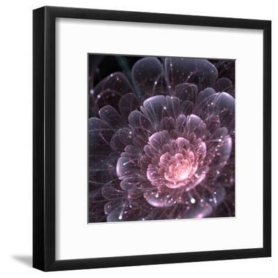 Pink abstract flower with sparkles on black background, fractal illustration-Anikakodydkova-Framed Art Print