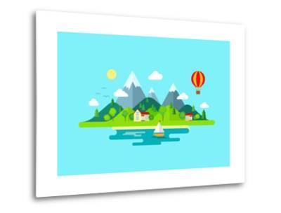 Travel Mountains Island Landscape and Sailing Color Flat Vector Icon Nature Weather Concept Templat- Sentavio-Metal Print