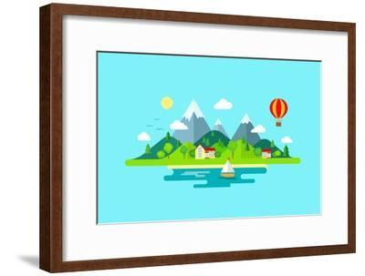 Travel Mountains Island Landscape and Sailing Color Flat Vector Icon Nature Weather Concept Templat- Sentavio-Framed Art Print