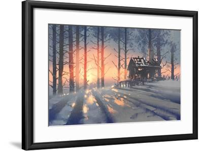 Winter Landscape of an Abandoned House in the Forest,Illustration Painting-Tithi Luadthong-Framed Art Print